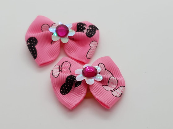 Pink & Black Butterfly Patterned Fabric Top Elastic Bow