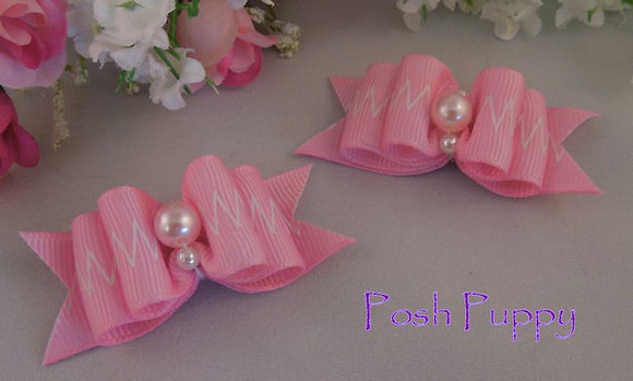 Pearl, Pink & White Top Knot Elastic Bow