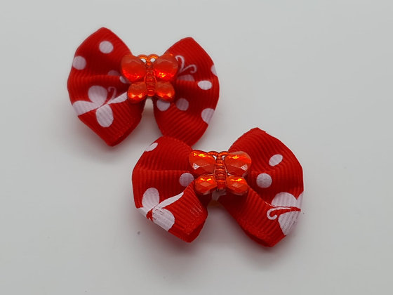 Red & White Butterfly Patterned Fabric Top Elastic Bow