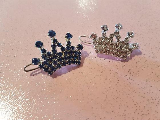 Diamante Crown Top Knot Barrette Clip