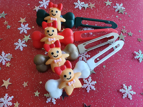 Mrs Gingerbread Christmas top knot barrette 4.5cm by Posh Puppy
