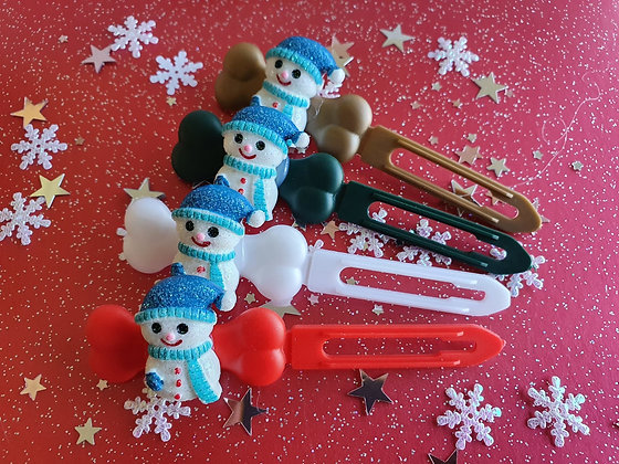Blue Snowman Christmas top knot barrette 4.5cm by Posh Puppy