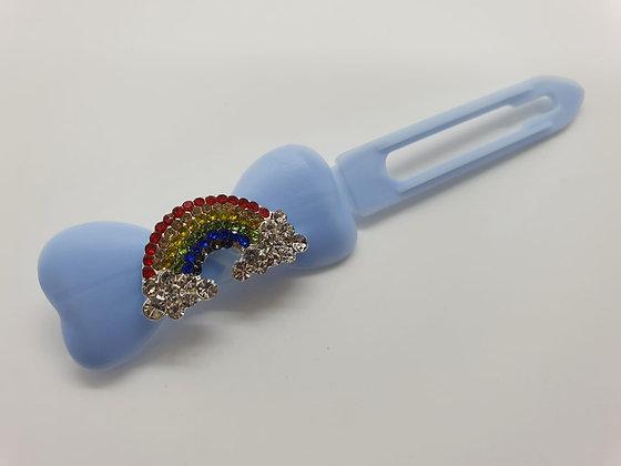 Limited Edition Diamante Rainbow Cloud on a Baby Blue 4.5cm Bow Clip