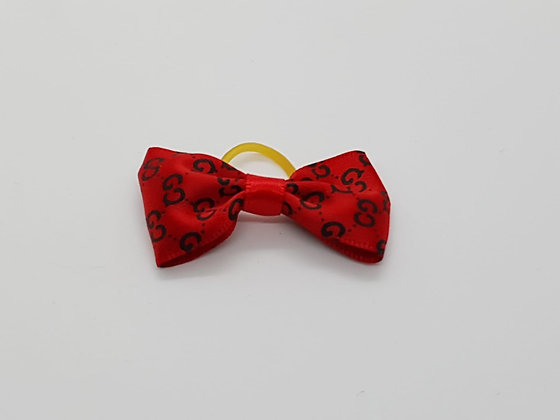 Red CC Patterned Spotted Bow Soft Top Knot Elastic
