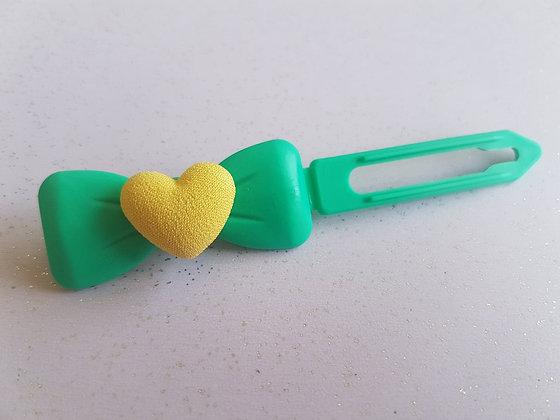 Fabric Heart top knot barrette clip