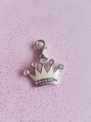 Diamante Crown Collar Charm Tag
