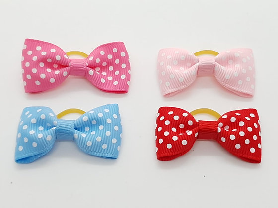 Spotted Fabric Bow Soft Top Knot Elastic