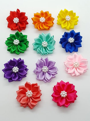 Soft Flower Elastics Bow with Centre Pearl