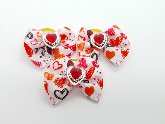 Heart Patterned with Heart Gem Fabric Top Knot Elastic Bow