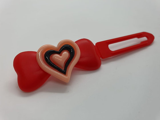 Valentine Limited Edition pink and black Heart on 4.5cm red Clip