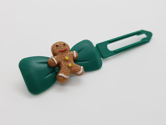 Limited Edition Christmas Gingerbread Man on a Bow Clip 4.5