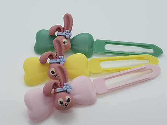 Pale Pink Easter Comic Bunny Head top knot barrette on a 4.5cm or 3.5 Clip