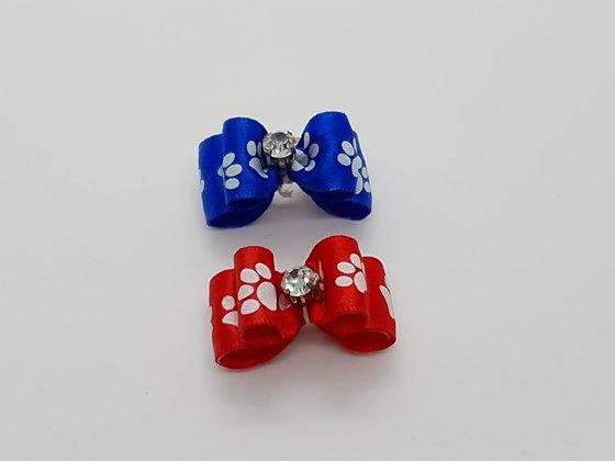 Paw Print Satin Ribbon Soft Top Knot Elastic Bow
