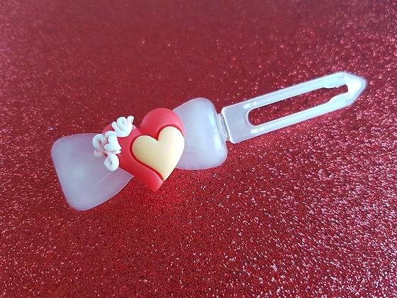 Posh Puppy Love Heart dog top knot barrette 4.5cm clip