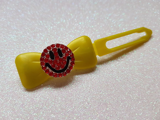 Bling Smiley Faces top knot barrette 4.5cm by Posh Puppy