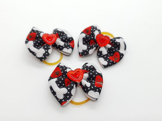 Heart and Bone Patterned with Solid Red Heart Fabric Top Knot Elastic Bow