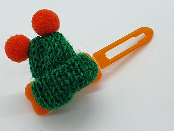 Dark Green Woolly Bobble Hat on a 4.5 Bow clip