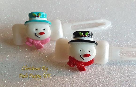 Snowman & Hat Barrette Christmas novelty Clip