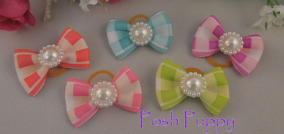 Soft Gingham Top Knot Elastic Bow