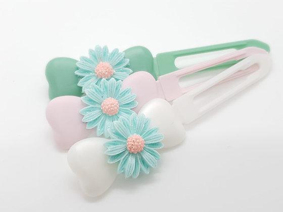 Large Aqua Glitter Daisy top Knot barrette clip for dogs