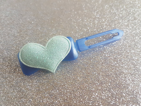 Soft Glitter Heart dog top knot barrette 4.5cm