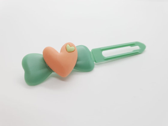 Pink Heart on on a 4.5cm Fern Green Bow Clip