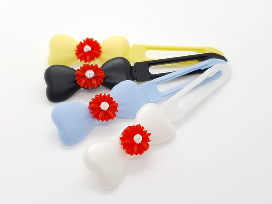 Red Daisy top Knot barrette clip for dogs