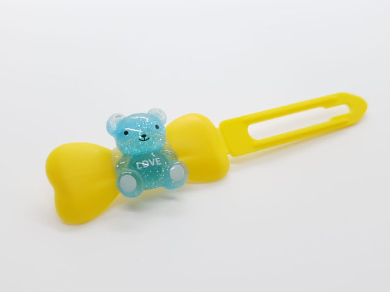 Limited Edition Blue Love Teddy Bear on a Yellow 4.5 Bow Clip