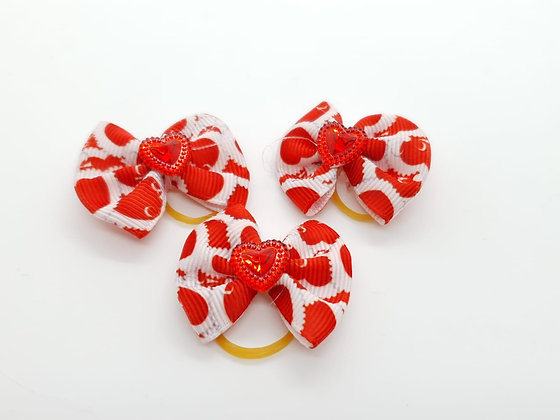 Heart Patterned with Solid Heart Fabric Top Knot Elastic Bow