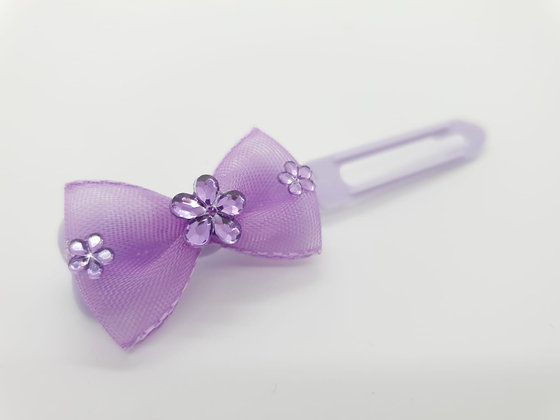 Lilac Net Bow on a 4.5cm clip