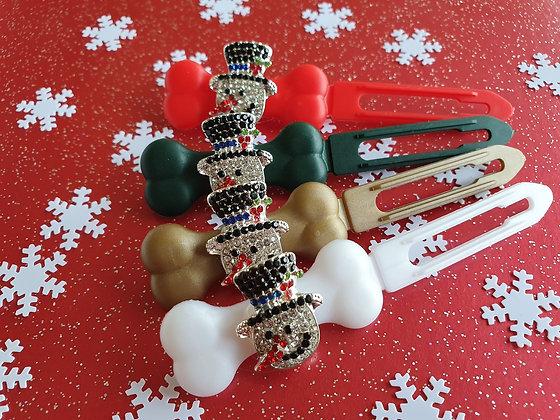 Diamante Snowman top knot barrette 4.5cm by Posh Puppy