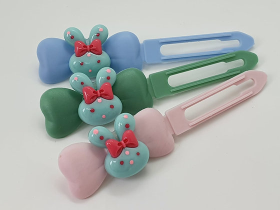 Aqua Easter Bunny Ears top knot barrette on a 4.5cm or 3.5 clip