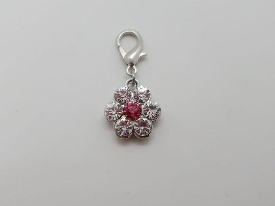 Diamante Flower Collar Charm Tag