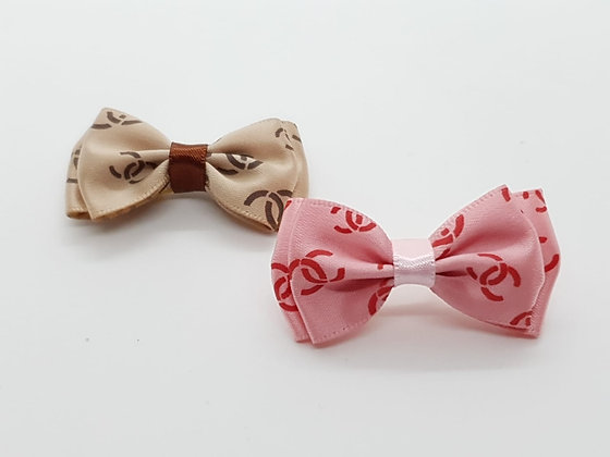 CC Patterned Double Bow Soft Top Knot Elastic