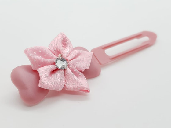 Pretty Pink satin Flower bow on a pearly pink 4.5cm clip