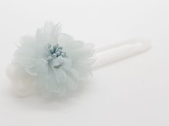 Pale Blue Netting Flower bow on a 4.5cm clip