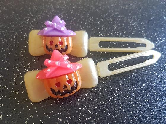 Pumpkin Halloween dog top knot barrette clip