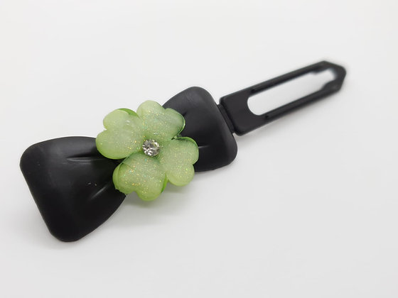 Limited Edition St Patricks Themed Clover on a Black 4.5cm Bow Clip