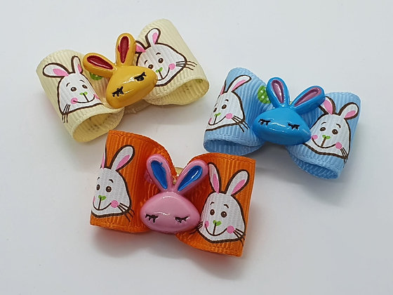 Easter Bunny Faced with Central Bunny Face Coloured Top Elastic Bow