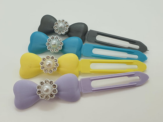 Diamante Pearl Flowers top Knot barrette clip for dogs