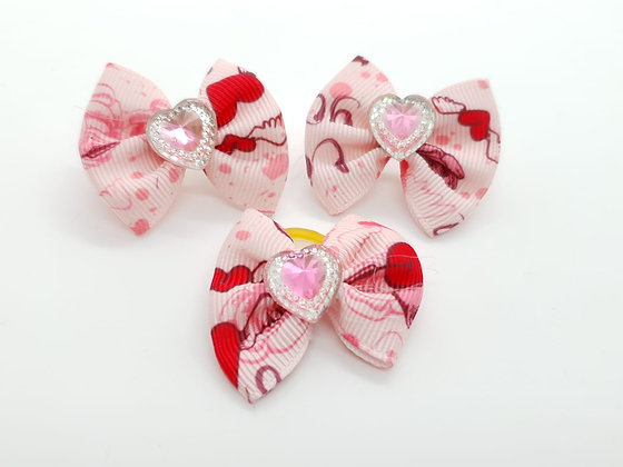 Rose Patterned with Solid Pink and Silver Heart Fabric Top Knot Elastic Bow