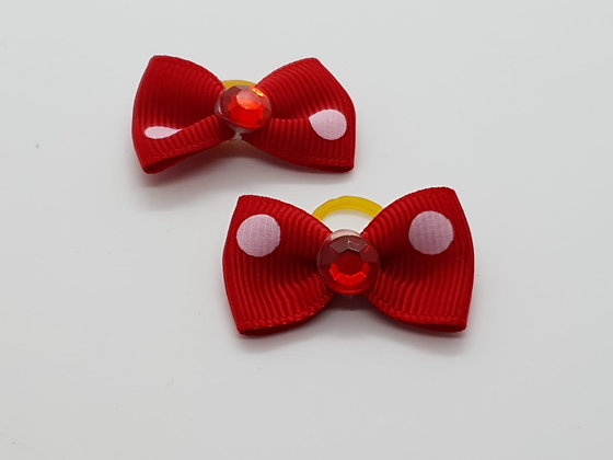 Red with Pink Spots Patterned Fabric Top Elastic Bow