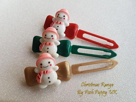 Pink Hat Snowman Barrette Christmas novelty Clip