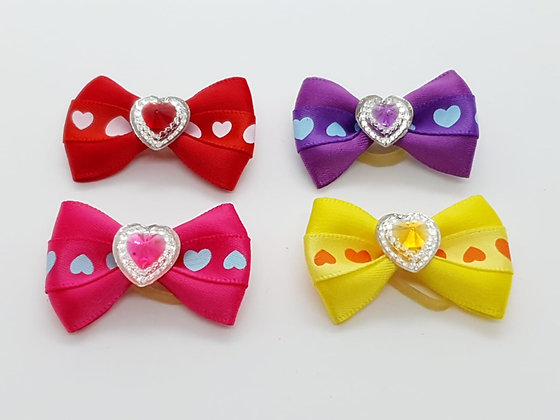 Heart Patterned Bow Soft Top Knot Elastic