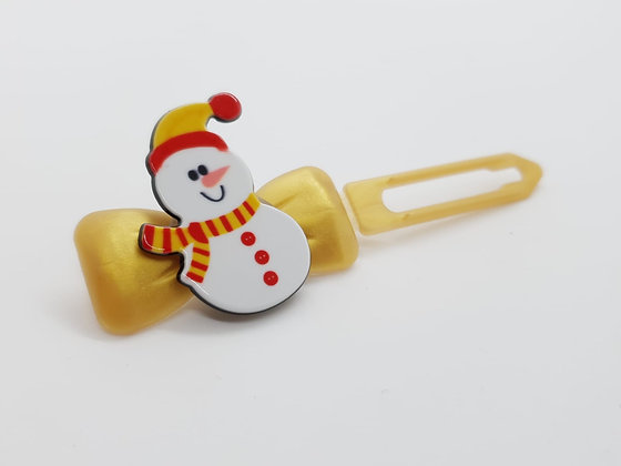 Limited Edition Christmas Snowman on a Bow Clip 4.5