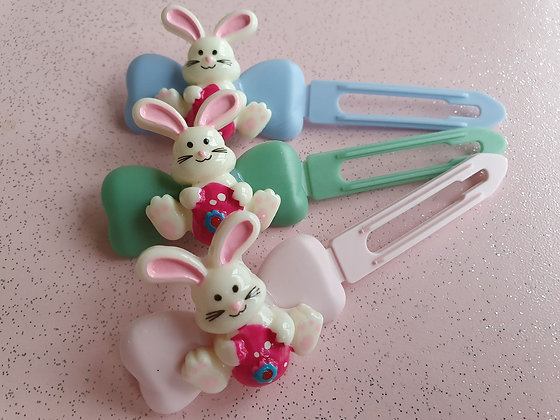 Easter Bunny Pink Egg Top knot barrette 4.5cm clips by Posh Puppy UK