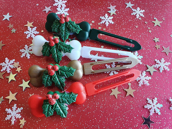 Holly Christmas top knot barrette 4.5cm by Posh Puppy