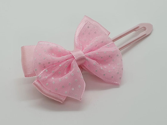 Baby Pink bow on a 4.5cm clip