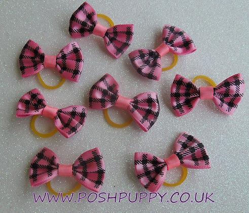 Pink Check Top Knot Elastic