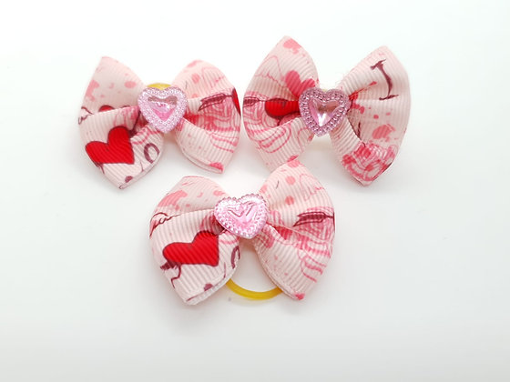 Heart Patterned with Solid Pink Heart Fabric Top Knot Elastic Bow